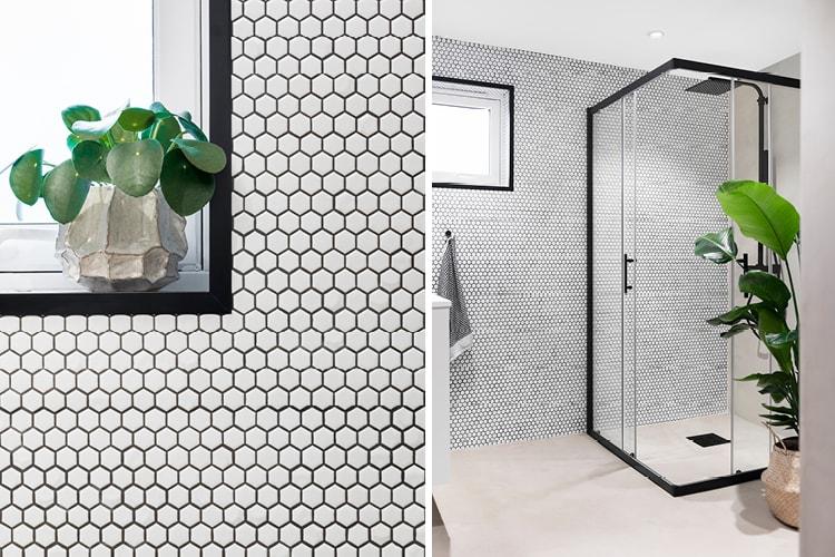 Mosaic Hexagon Glossy White 30x30 er en moderne mosaikk flis i hexagon format