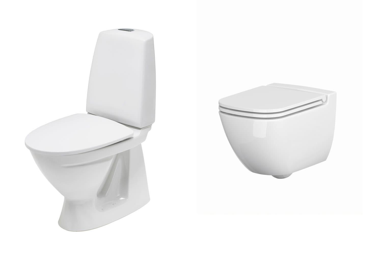 Velg mellom gulvstående eller vegghengt toalett