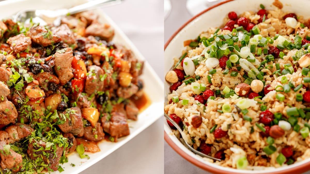 Cūkas gaļa ar fantastiskiem, krāsainiem rīsiem