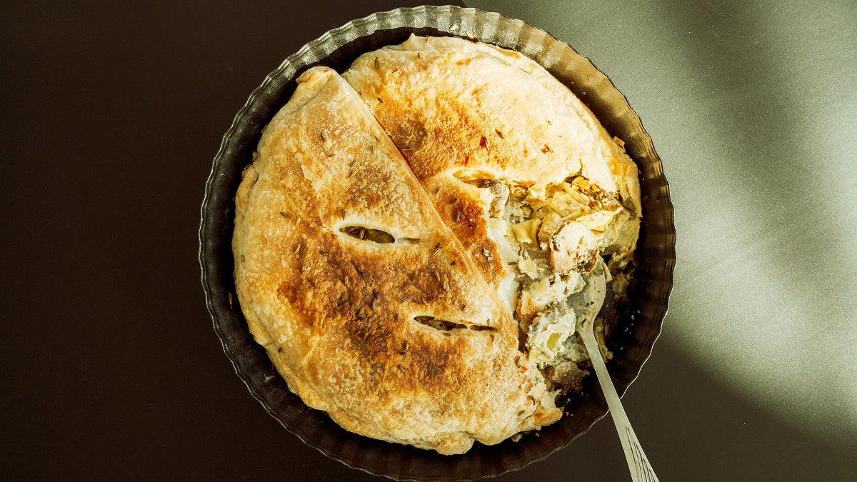 Meža sēņu - puravu pīrāgs