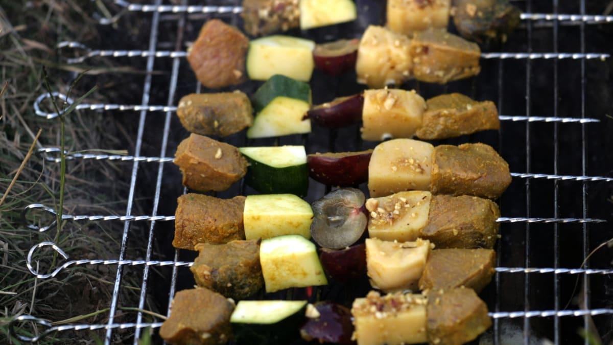 Brieža gaļas kebabs ar plūmēm