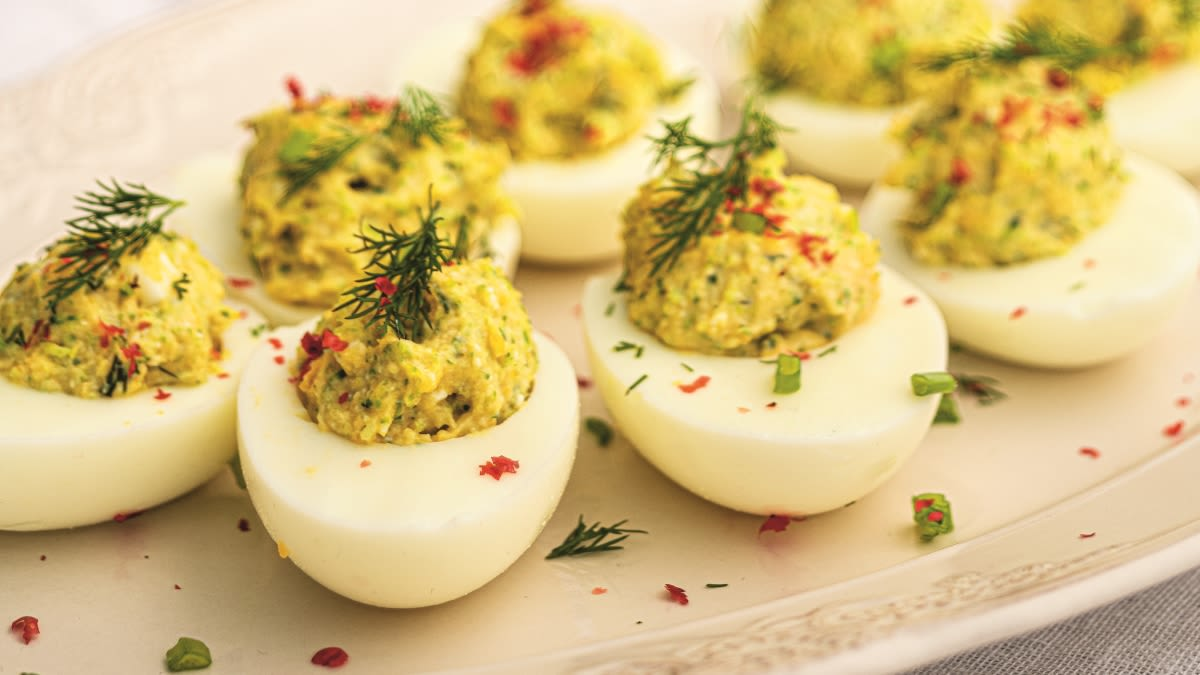 Kiaušiniai, įdaryti brokoliais ir feta