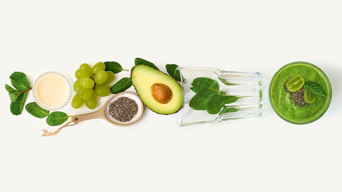 Žaliųjų vynuogių, avokadų, špinatų  ir ispaninių šalavijų sėklų glotnutis
