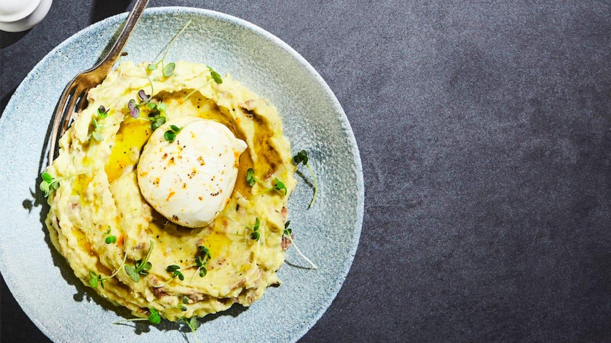 Kartupeļu putra ar mocarellu