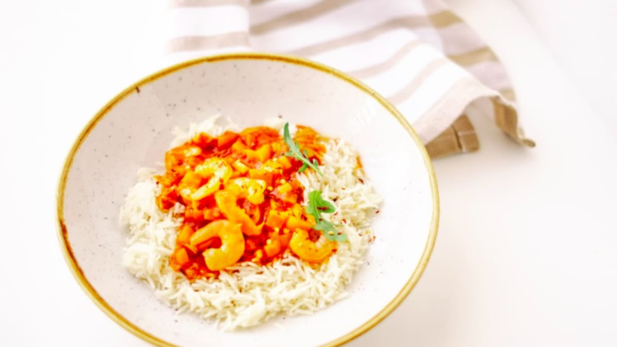Garneļu kreole ar rīsiem