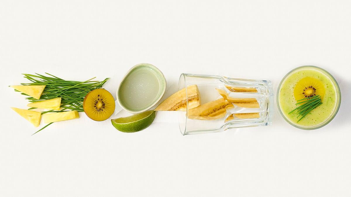 Želmenų, geltonųjų kivių ir  bananų glotnutis