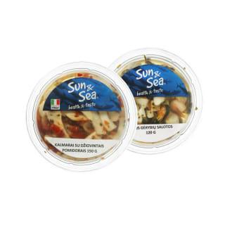 Jūros gėrybių salotos ar kalmarai SUN & SEA, 120–150 g (2 rūšys)
