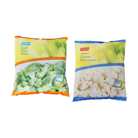 Greitai užšaldytiems žiediniams kopūstams ar brokoliams RIMI, 400 g (2 rūšys)