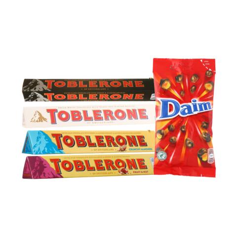Šokoladui TOBLERONE ir DAIM, 28–100 g (8 rūšys)