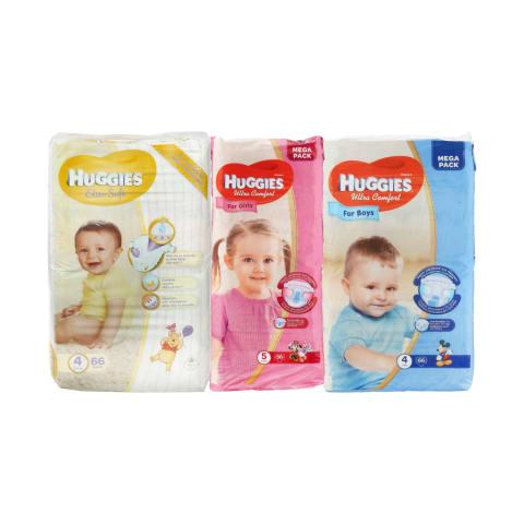 Sauskelnėms HUGGIES Ultra Comfort, Elite soft ir drėgnoms servetėlėms HUGGIES Pure ir Natural Care