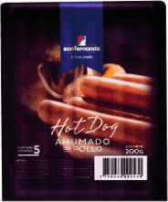 Hot dog ahumado de pollo San Fernando pqt x6x5und