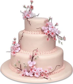 Torta flores de cerezo- 3 pisos