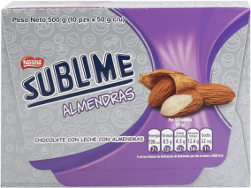 Chocolate Sublime Almendras Nestle Display 10x50g