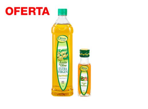 Pack Aceite de Oliva Extra Virgen x 1 Lt  pet.  + 1 Vinagre de Manzana x 100 ml