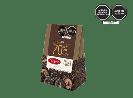 PASTILLAS DE CHOCOLATE 70% CACAO X 150 g