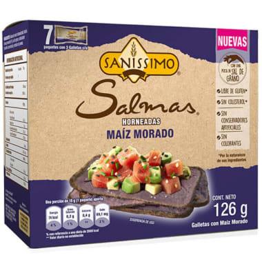 SALMAS HORNEADAS MAIZ MORADO 126GR SANISSIMO