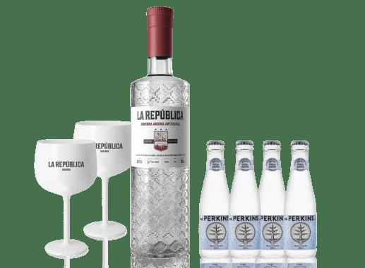 Combo: 1 Gin La República (Gin Andina o Amazónica) + 4 Mr. Perkins Agua Tónica + 2 Copas Acrílicas