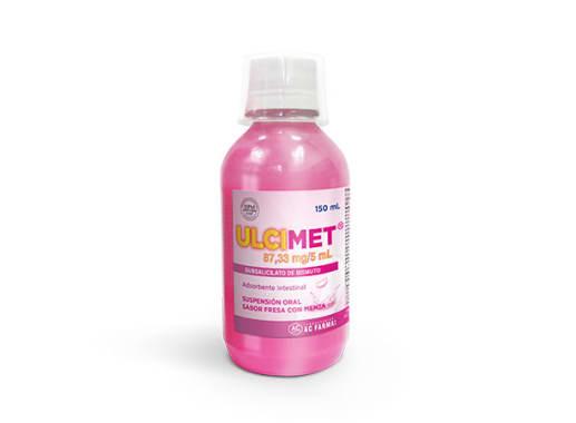 ULCIMET 87.33 mg/5 mL SUSP OR F X150mL - SUBSALICILATO DE BISMUTO ( Caja x 01 Frasco)