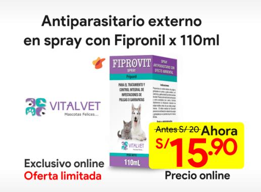 FIPROVIT SPRAY Antiparasitario Externo con Fipronil 110 ml