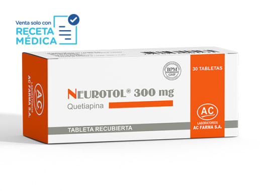 NEUROTOL 300 mg  - QUETIAPINA (Caja x 30 Tabletas)