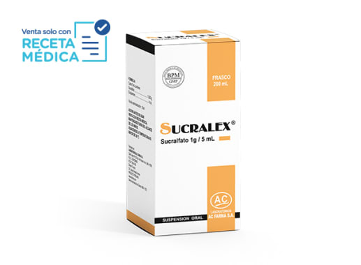 SUCRALEX 1 g/5 mL SUSPENSION ORAL x 200 mL - SUCRALFATO (Caja x 01 Frasco)
