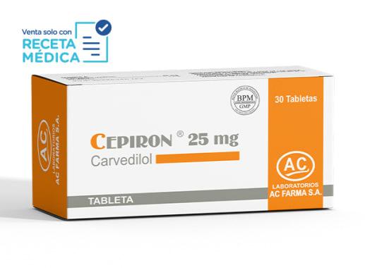 CEPIRON 25 mg - CARVEDILOL (Caja x 30 Tabletas)