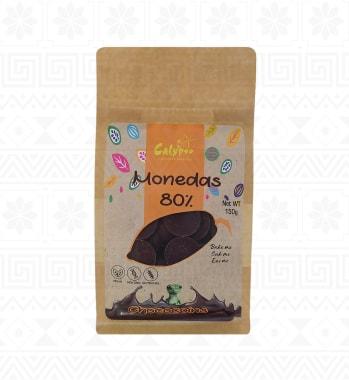 MONEDAS DE CHOCO BITTER 80% DOY PACK 150G CALYPSO