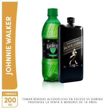 Jhonnie Walker Pocket Black 200ml +Evervess 500ml