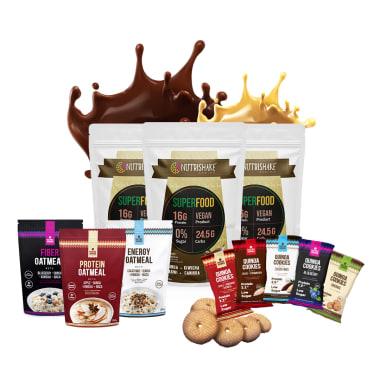 2 Proteínas Veganas Cacao + 1 Proteína Vegana Vainilla + 3 Avenas + 5 Quinoa Cookies