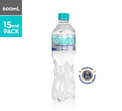 Agua de mesa sin gas Fontevita 600 ml Paq x 15 pet