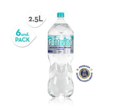 Agua de mesa sin gas Fontevita 2.5 Lts Paq x 6 pet