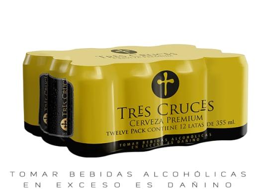 TRES CRUCES CERVEZA REGULAR LATA 355 ML 12