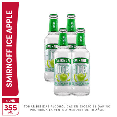 4 Pack Vodka Smirnoff ice Green Apple Botella 355ml