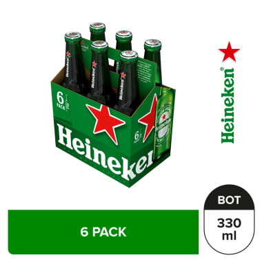 Cerveza Heineken 6 pack Botella 330 ml