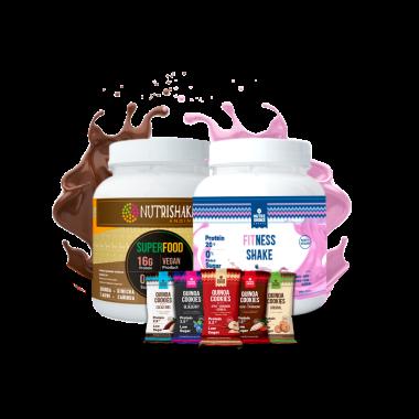 1 Fitness Shake + 1 Proteína Vegana Cacao + 5 Quinoa Cookies