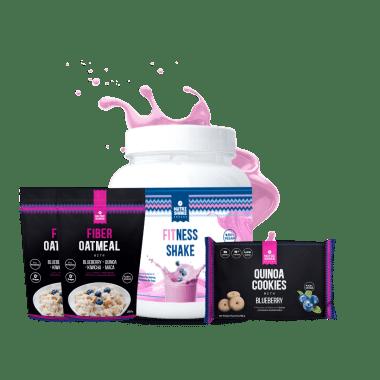 1 Fitness Shake + 2 Avenas Blueberry + 1 Six Pack Quinoa Cookies Blueberry