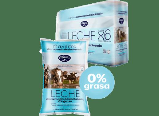 Leche Deslactosada Descremada Bolsa  Pack X 6 Unds 1.100ml