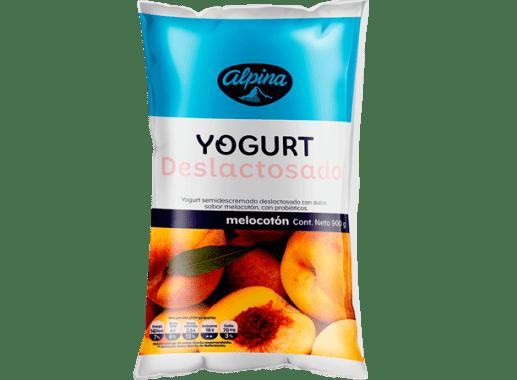Yogurt Deslactosado  Melocoton Bolsa 900gr