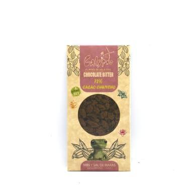CHOCOLATE BITTER 72% CACAO CON SAL Y NIBS 50 g CALYPSO