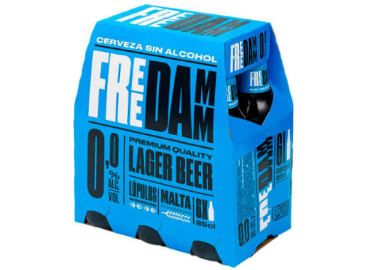 FREE DAMM LARGER BEER SIN ALCOHOL SIX PACK BOTELLA