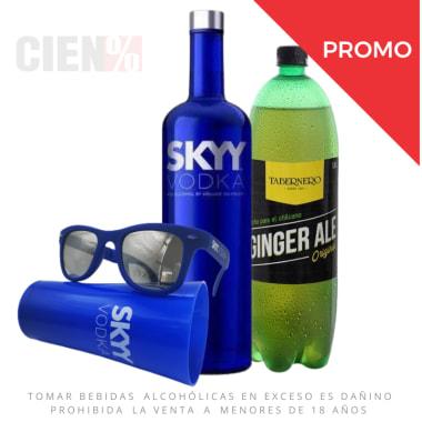 Skyy Pack: Vodka Skyy 750 ml + Ginger Ale 1.5L + Vaso + Lentes de sol