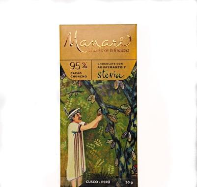 CHOCOLATE CON AGUAYMANTO Y STEVIA 95% CACAO 50 g MANARI