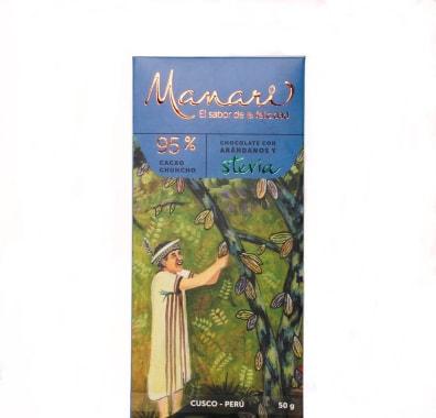 CHOCOLATE CON ARANDANOS Y STEVIA 95% CACAO 50 g MANARI