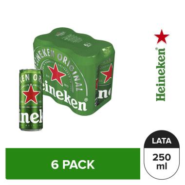 Cerveza Heineken 6 pack Lata 250 ml
