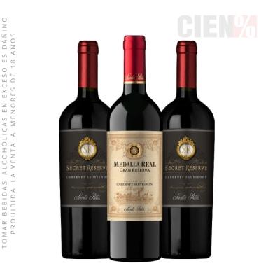 Pack Vinos Cabernet Sauvignon:  01 Medalla Real Gran Reserva + 02 Secret Reserva