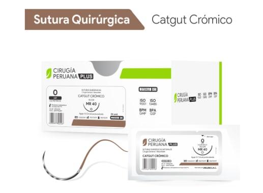 Catgut Crómico 4/0 Aguja 3/8 Círculo Cortante 20 mm x 70 cm Cirugía Peruana