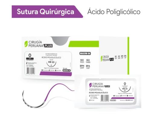 Ácido Poliglicólico 3/0 Aguja 1/2 Círculo Redonda 20 mm x 50 cm Cirugía Peruana