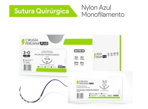 Nylon Azul Monofilamento 2/0 Aguja 3/8 Círculo Cortante 20 mm x 75 cm Cirugía Peruana