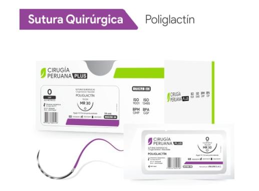 Poliglactin 0 Aguja 1/2 Círculo Redonda 30 mm x 70 cm Cirugía Peruana