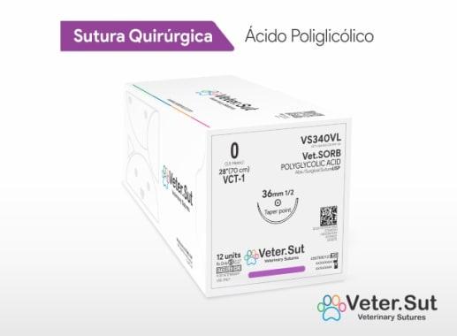 Vet.SORB - Ácido Poliglicólico 0 Aguja 1/2 Círculo Redonda 40 mm x 70 cm Veter.Sut